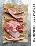 lamb chops isolated on white   Shutterstock . vector #1121934365