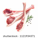 lamb chops isolated on white   Shutterstock . vector #1121934371