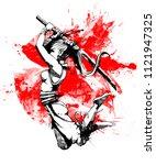 girl samurai in a decisive jump | Shutterstock . vector #1121947325