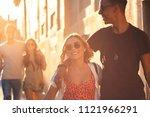 group of friends having good... | Shutterstock . vector #1121966291