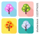 set of flat icons with four... | Shutterstock . vector #1121976101