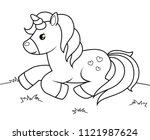 cute cartoon unicorn. black ... | Shutterstock .eps vector #1121987624