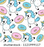 vector card with unicorn and... | Shutterstock .eps vector #1121999117