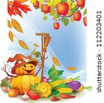 background with autumn leaves... | Shutterstock .eps vector #112203401