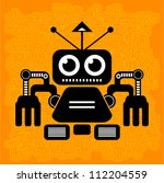 Vector - robot (futuristic art on the background conundrums) - stock vector