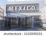 mexico sign and turnstile... | Shutterstock . vector #1122050231