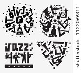 jazz band logo doodles | Shutterstock .eps vector #1122069311