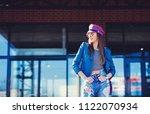 fashion model in sunglasses ... | Shutterstock . vector #1122070934