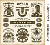 vintage western labels and... | Shutterstock .eps vector #1122082847