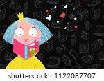 cute girl reading book. library ...   Shutterstock .eps vector #1122087707