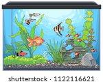 underwater landscape with green ... | Shutterstock .eps vector #1122116621