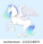 elegant white pegasus stands on ... | Shutterstock .eps vector #1122118874