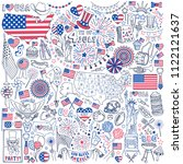fourth of july doodle set.... | Shutterstock .eps vector #1122121637
