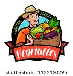 happy farmer holding wicker... | Shutterstock .eps vector #1122130295