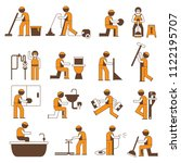 plumbing service icons  cleaner ... | Shutterstock .eps vector #1122195707