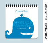 notebook design  blue whale | Shutterstock .eps vector #1122216005