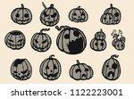 halloween pumpkins vector lace... | Shutterstock .eps vector #1122223001