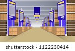 wholesale with rows of shelves... | Shutterstock .eps vector #1122230414