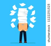 busy businessman with pile of... | Shutterstock .eps vector #1122251525