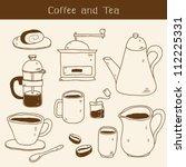 doodle set   coffee and tea... | Shutterstock .eps vector #112225331