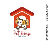 Stock vector pet shop pet house pet care emblem logo design template veterinary clinics and animal shelters 1122258404