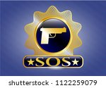 gold emblem or badge with... | Shutterstock .eps vector #1122259079