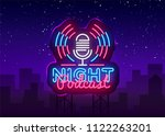 podcast neon sign vector. night ... | Shutterstock .eps vector #1122263201