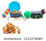 Stock photo pet accessories concept dry food collars and rubber toys for pet on isolated white background 1122278084