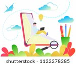 education concept of online... | Shutterstock .eps vector #1122278285