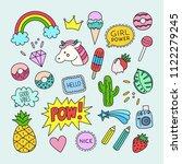 vector patch set in cartoon... | Shutterstock .eps vector #1122279245