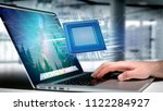 view of a processor chip and... | Shutterstock . vector #1122284927