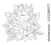 line drawing vector floral... | Shutterstock .eps vector #1122289277