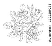 line drawing vector floral... | Shutterstock .eps vector #1122289295