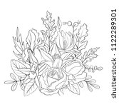 line drawing vector floral... | Shutterstock .eps vector #1122289301