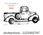 hand drawn vintage transport... | Shutterstock .eps vector #1122302747