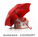 red umbrella protecting house... | Shutterstock . vector #1122331097