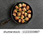 meatballs in frying pan on... | Shutterstock . vector #1122333887