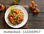 spaghetti with minced meat and... | Shutterstock . vector #1122333917