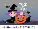trick or treat with cute witch... | Shutterstock .eps vector #1122334151