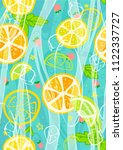 lemonade card pattern | Shutterstock . vector #1122337727