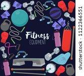 set of fitness accessories ... | Shutterstock .eps vector #1122366551