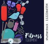 set of fitness accessories ... | Shutterstock .eps vector #1122366554