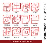 12 chinese zodiac signs design | Shutterstock .eps vector #1122394211
