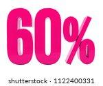 pink 60  percent discount sign  ... | Shutterstock . vector #1122400331