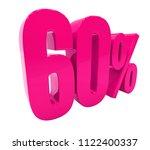 pink 60  percent discount sign  ... | Shutterstock . vector #1122400337