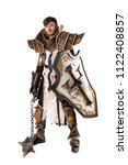 young man cosplaying with... | Shutterstock . vector #1122408857