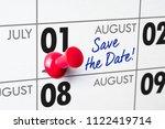 wall calendar with a red pin  ... | Shutterstock . vector #1122419714