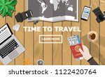 top down flat lay view of... | Shutterstock .eps vector #1122420764