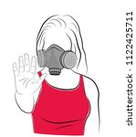 the girl in the gas mask holds... | Shutterstock .eps vector #1122425711