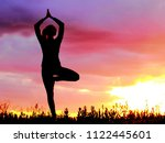 yoga practicing emotional... | Shutterstock . vector #1122445601